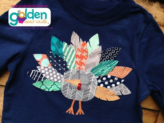 Thanksgiving Turkey Feather Tee, navy, teal, gray and orange