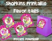 Shopkins Favor tags, Shopkins Gift tags, Shopkins Goodie bag tag, Shopkins Printable Favor bags tag, Shopkins Bag, Shopkins Party