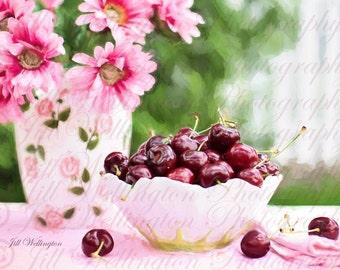 DIGITAL Fine Art Photography jpg file, Bowl of Cherries