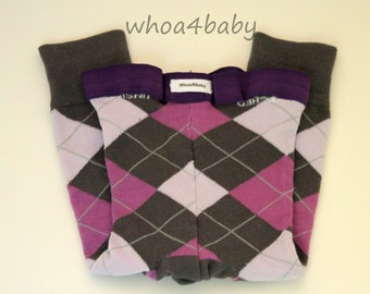 Funky Baby Leggings; Toddler Leggings; Footless Tights for Baby; Purple Argyle Leggings