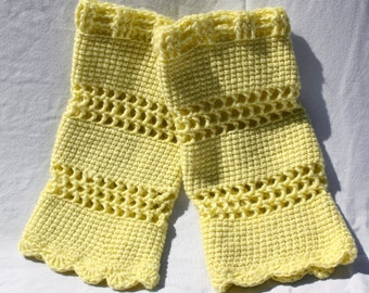 Pale Yellow Legwarmers, Pastel Crochet Leg warmers, One Size fits Most, Teen Dancewear, Women's Winter Accessories