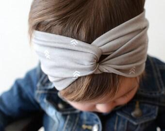 Baby Turban Headband, Gray Chevron, Adult Turban, Baby Headwrap, Twist Turban, Girl's Turban Headband, Gray  Baby Turban Headband