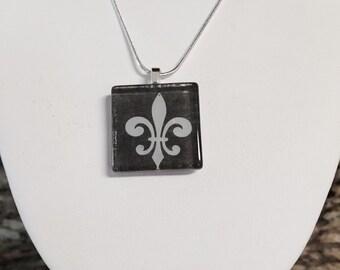 Glass Tile Fleur De Lis Necklace