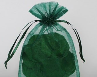 Organza Gift Bags, Emerald Sheer Favor Bags with Drawstring for Packaging, pack of 50