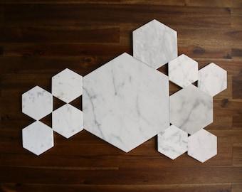 Marble Hexagon Coaster, Trivet and  Centerpiece Set (8 Coasters, 2 Trivets, 1 Centerpiece)