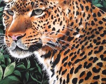 SALE.....Leopard panel Jungle print 23x44 inches