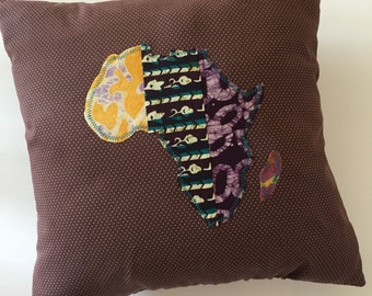 Authentic African Fabric Applique Pillow