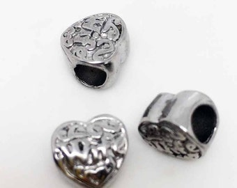 """10pcs Solid Stainless Steel Heart """"Wife"""" Charm Beads For European Bracelet Jewelry Craft"""