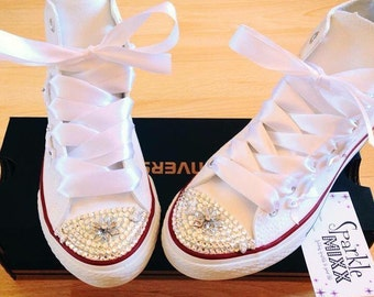Adults White High Top Converse with Swarovski crystal toes Weddings Proms Bridesmaid Bride