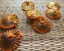 Floral Appliques, Gota Ribbon Flowers, Ethnic Embellishments, Golden Appliques