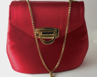 Red Satin Evening Bag - Vintage Red Satin Clutch - Magid Evening Bag - Glamorous Clutch Bag