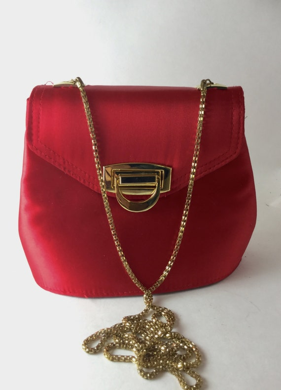 Items Similar To Red Satin Evening Bag - Vintage Red Satin Clutch - Magid Evening Bag ...