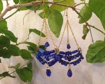 Handmade dark blue chandelier earrings