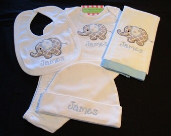 Personalized Baby Boy Elephant Layette Gown, Hat, Burp Cloth,Bib-Personalized Elephant Gown,Newborn Hat, Burp Cloth,- Baby Boy Elephant Set-