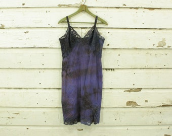 vintage 1960s dark purple earthy hand dyed slip dress gown lace details S M