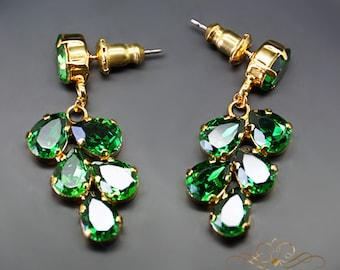Bridal Chandeliers, Wedding Chandelier, Green Earrings, Bridal Earrings, Rose Gold Bridal Earrings, Bridal Peach Drop Earrings, Gift For Her