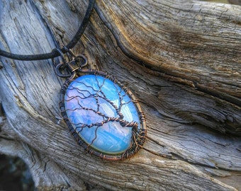 Opalite Tree of Life Pendant //  Oxidized Copper Wire Wrapped Jewelry