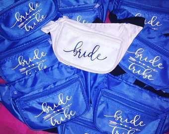 bridal party fanny packs, bride tribe fanny packs, bachelorette party, bridesmaids, future bride, bride to be