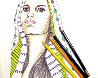 Coloring Page for Adults   Printable Coloring Page   Culture Coloring   Girl in Scarf