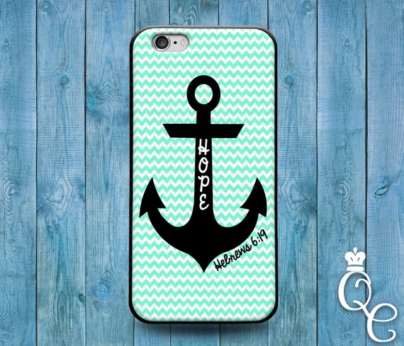 iPhone 4 4s 5 5s 5c SE 6 6s 7 plus iPod Touch 4th 5th 6th Gen Cool Bible Verse Quote Hope Anchor Mint Green Cute Phone Cover Hebrew Fun Case