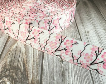 "Cherry blossom ribbon - Grosgrain ribbon - 1"" ribbon - Pink flower ribbon - Floral ribbon - Crafting ribbon - DIY hair bow - DIY handband"