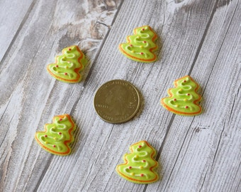 Christmas tree resin - Christmas flatback - Christmas tree cabochon - Ornaments and tree - Hair bow DIY - Christmas crafts - Craft supplies