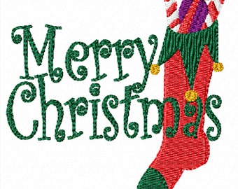 Merry Christmas Stocking -Machine Embroidery Christmas Design