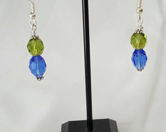 Rose green & blue earrings