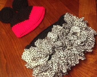 Crochet Minnie Mouse outfit set, hat, skirt, tutu