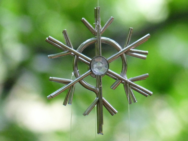 Silver gems metal snowflake ornament embossed by