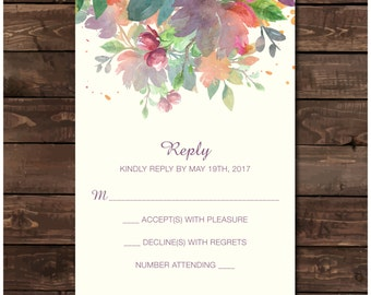 Floral Wedding Reply Card Printable - Wedding Invite with Flowers RSVP