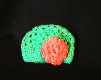 Crocheted Baby Beanie Hat with Flower 6 - 12 months old