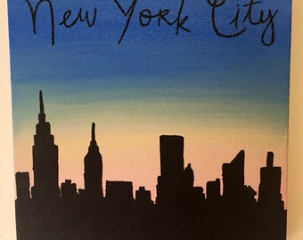 New York City skyline silhouette handmade canvas art