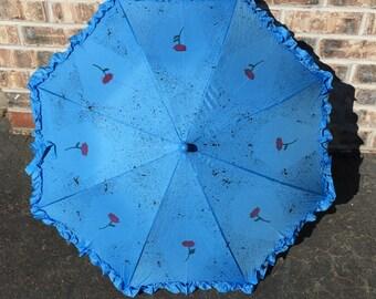 Baby Blue Coffin and Rose Parasol (umbrella)