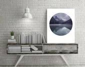 Blue Wall Art, Instant Download Printable Art, Mountain Print, Circle Art, Mountain Art, Blue Prints, Lake Print, Circle Print