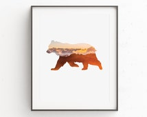 Bear Wall Art, Bear Print, Instant Download Printable Art, Orange Wall Art, Animal Print Art, Clouds Photography, Instant Wall Art