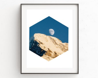 Moon Print, Moon Photography, Moon Wall Art, Instant Download Printable Art, Mountain Print, Blue Wall Art, Mountain Art