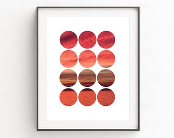 Nature Photography Wall Print, Modern Photography Wall Art, Photography Wall Print, Photography Circle, Red Wall Print, Digital Art, Artwork
