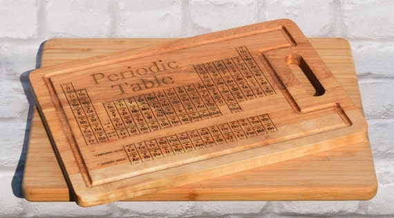 Geek periodic table chopping board chemistry by woodentreasuresuk - Periodic table chopping board ...