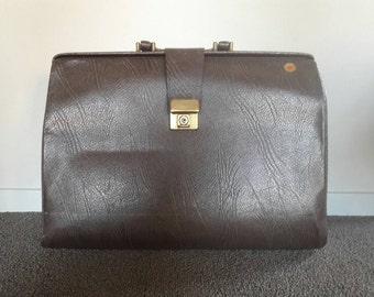 Old Dark Brown Leather Doctor Bag '70