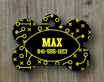 Pet Tags, Personalized Pet Tag, Dog Tag, Custom Dog Tag, Cat Tag, Custom Cat Tag, Pet Accessory, Pet ID Tag, Paw Print, Football, ID Tag