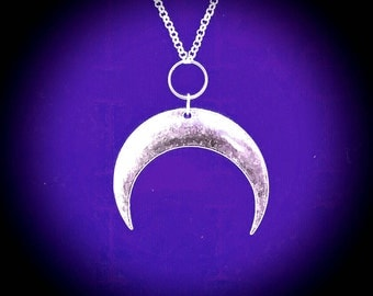 crescent MOON GODDESS necklace, goth, gothic, occult symbols, wicca, wiccan, magick, magical, crescent moon, witchcraft, coven, goth goddess