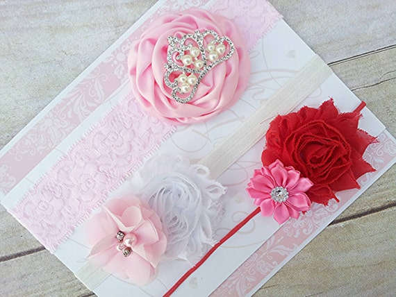 Baby Girl Headband Set, Red Headband, Pink headband, Baby Girl Head Bands, Gift set, Shower Gift, Newborn Headband, Baby Headband,