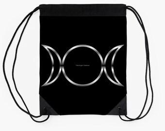 Drawstring Backpack, Bag, Totebag - Triple Goddess Symbol