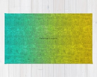 Ocean Sunrise Glitter Gradient Accent Rug, 3 Sizes Available!