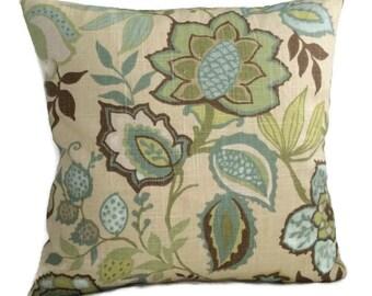 Farmhouse Pillow Jacobean Floral Teal Blue Aqua Sage Green Cushion Cover French Country Cottage Decor Decorative Throw Pillow Lumbar Accent