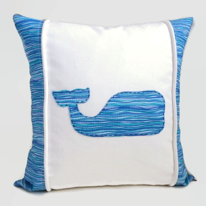 Whale Pillow Ocean Blue Green Decorative Pillow Cushion Cover