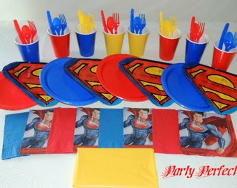 49 Piece Superman Place settings Table Decorations Party Supplies