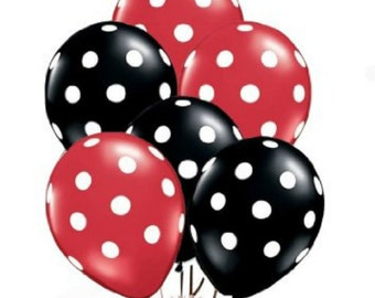 """12 Red and Black polka dot balloons 11"""" Latex Balloons Minnie Mouse Mickey Mouse Party Decorations Favors Balloon Centerpiece"""