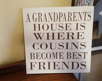 A Grandparents House...  12x12 Hand-painted wall hanging. No vinyl.
